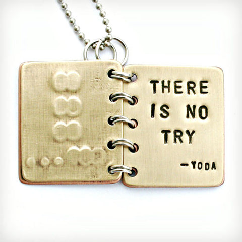 Yoda - Do or Do Not, There is No Try - Metal Book Pendant