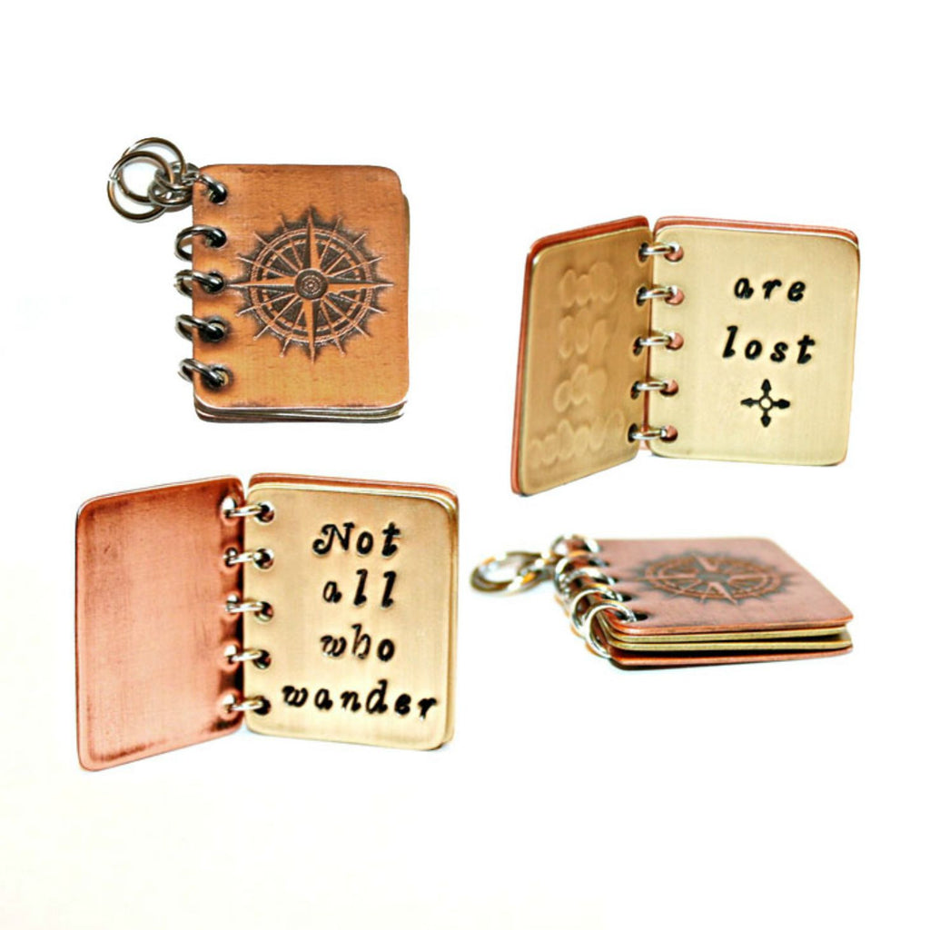 Not All Who Wander Are Lost - Metal Book Pendant