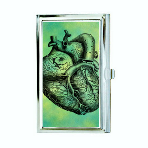 Anatomical Heart Business Card Case - Green and Black