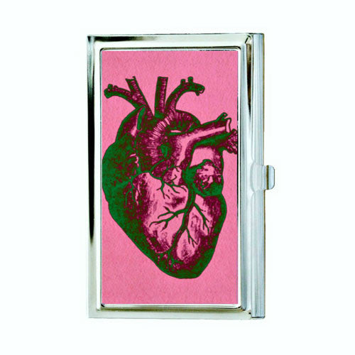Anatomical heart business card case pink and green hardwear designs anatomical heart business card case pink and green colourmoves