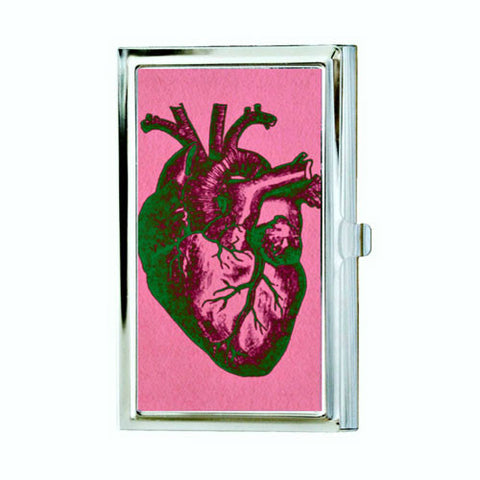 Anatomical Heart Business Card Case - Pink and Green