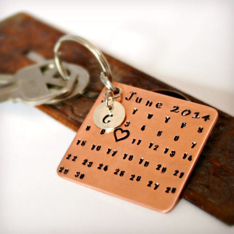 Custom Copper Calendar Key Chain with Sterling Silver Charm