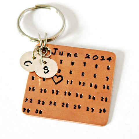 Custom Copper Calendar Key Chain with Sterling Silver Charms