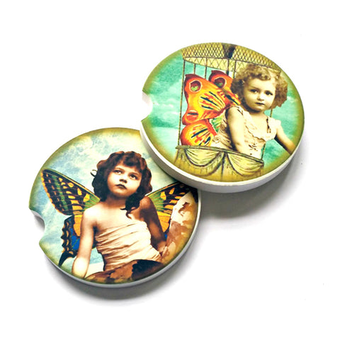 Fairy Girls Sandstone Car Coasters