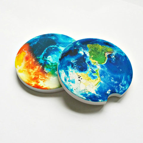 Planet Earth Sandstone Car Coasters