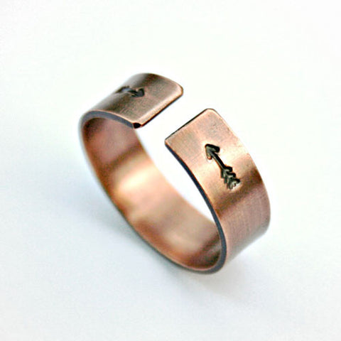 Arrows Design Stamped Copper Ring