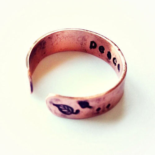Peace Copper Ring