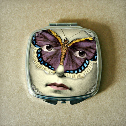 Butterfly Mask with Purple and Blue Wings Compact Mirror