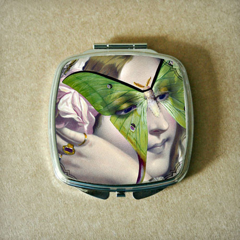 Butterfly Mask with Green Wings Compact Mirror