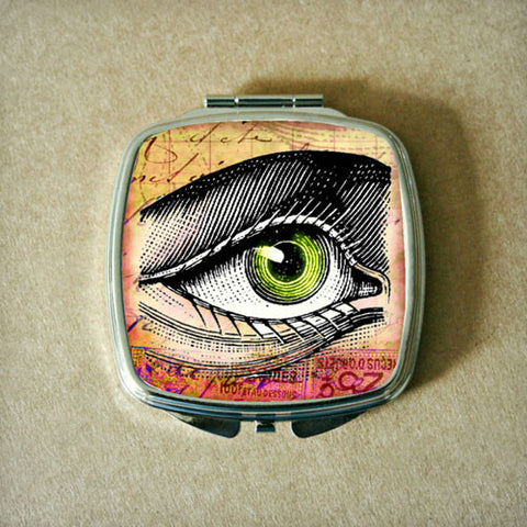 Green Eye Drawing Compact Mirror