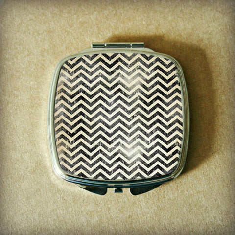Black Grunge Chevron Compact Mirror