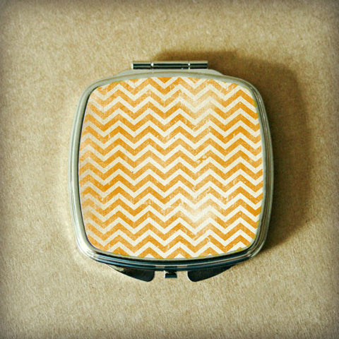 Orange Grunge Chevron Compact Mirror