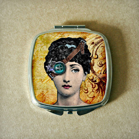 Steampunk Woman Fig.1 Compact Mirror