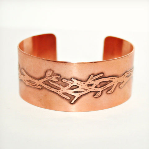 Branches Etched Cuff - Brass or Copper