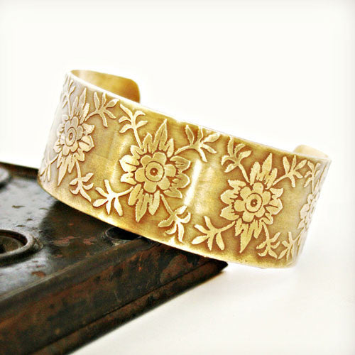 Floral Design Etched Cuff - Brass or Copper