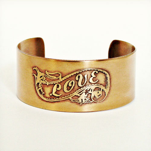 Love Banner Etched Cuff - Brass or Copper