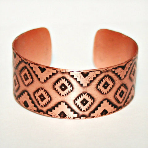 Aztec Etched Copper Cuff