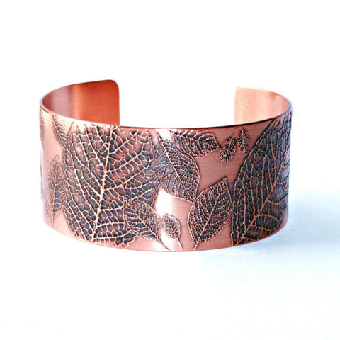 Leaves Etched Copper Cuff