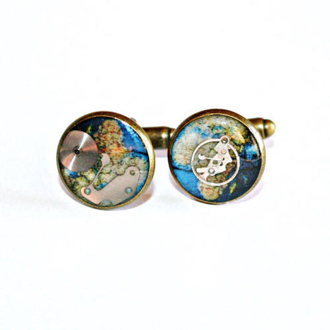 Earth Resin Cufflinks