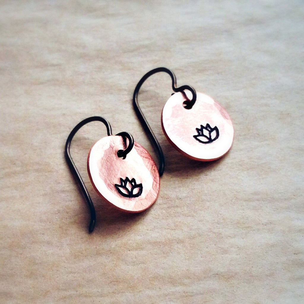 Copper Stamped Earrings - Lotus Flower