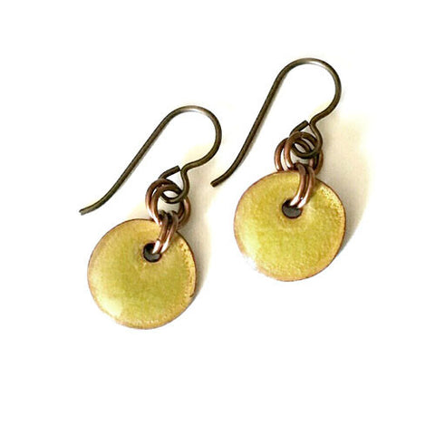 Enamel Drop Earrings - Chartreuse