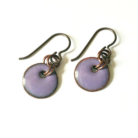 Enamel Drop Earrings - Fox Glove Purple