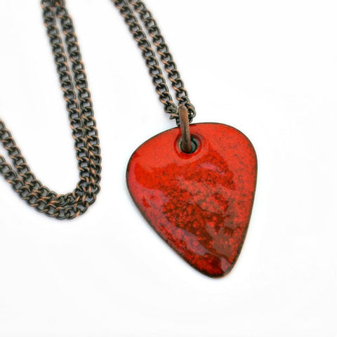 Enamel Copper Guitar Pick Necklace - Burnt Red - Other Colors Available!