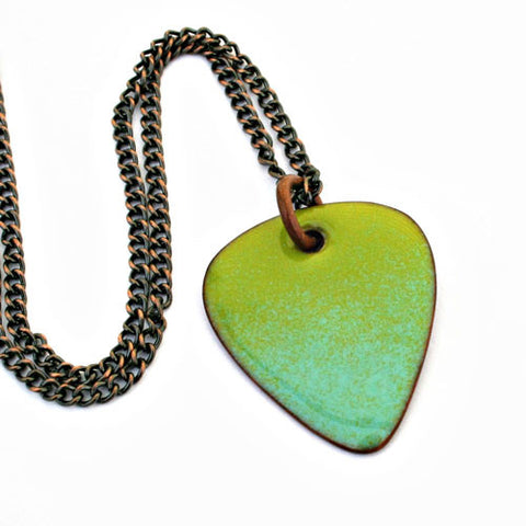 Enamel Copper Guitar Pick Necklace - Green and Sky Blue Ombre - Other Colors Available!