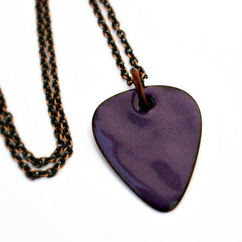 Enamel Copper Guitar Pick Necklace - Purple - Other Colors Available!
