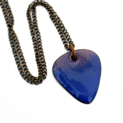Enamel Copper Guitar Pick Necklace - Ultramarine Blue - Other Colors Available!