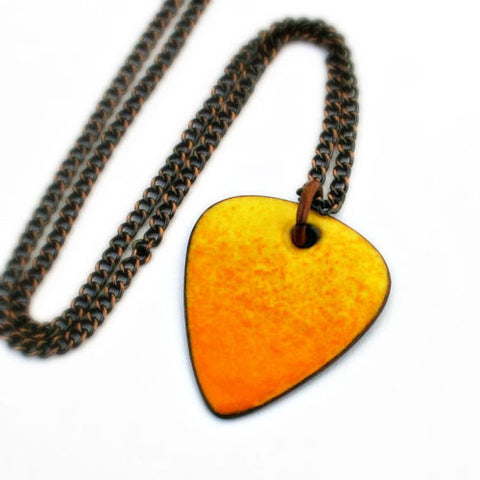 Enamel Copper Guitar Pick Necklace - Yellow Orange Ombre - Other Colors Available!