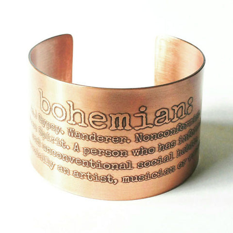 Bohemian Etched Copper Cuff
