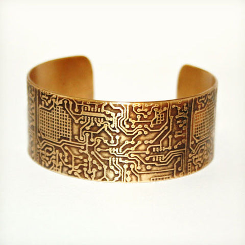 Circuit Board Etched Cuff - Brass or Copper