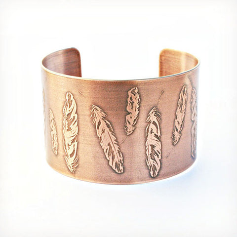 Feathers Etched Copper Cuff