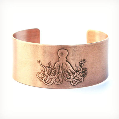 Octopus Etched Copper Cuff