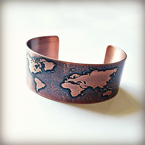 World Map Etched Copper Cuff