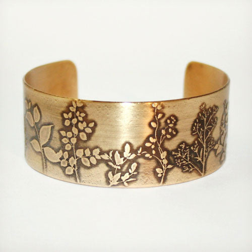 Wildflowers Etched Cuff - Brass or Copper