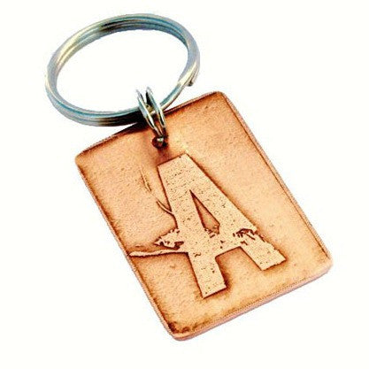 Etched Initial Key Chain