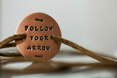 Follow Your Arrow Stamped Copper Wrap Bracelet