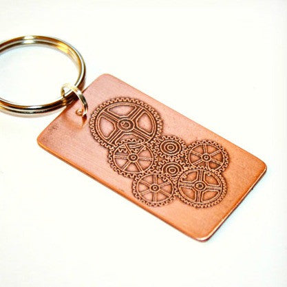 Etched Copper Key Chain with Gear Design