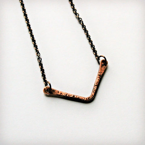Copper Necklace with Chevron Wire