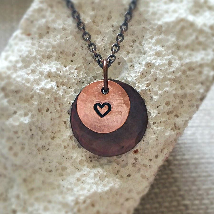 Layered Copper Pendant - HEART