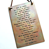 "Custom Hand Stamped Copper Wall Plaque - 4"" x 6"""