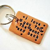 Copper Key Chain - I Love You to the Moon and Back