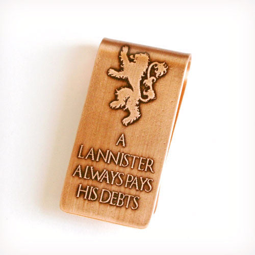 Game Of Thrones - Lannister - Etched Money Clip