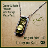 SALE! - Copper, Resin, and Vintage Watch Part Necklace...Ready to SHIP!!