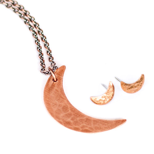 Copper Crescent Moon Set - Moon Necklace & Earrings