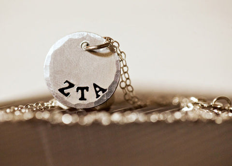 Greek Letter Stamped Sorority Sterling Silver Charm Necklace, Brushed Matte Finish