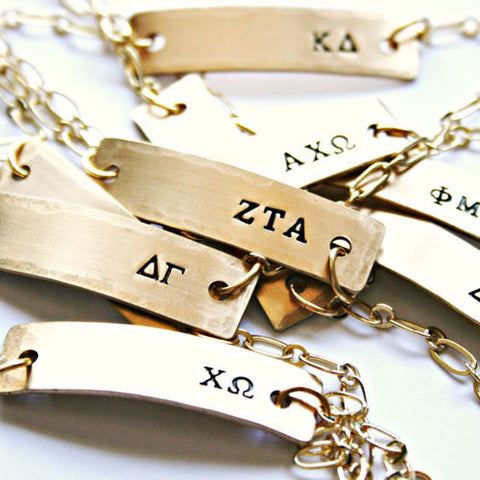 Greek Letter Stamped Sorority Bracelets - Available in Brass and Sterling Silver