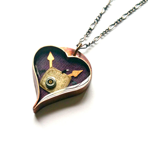 Purple Heart Necklace - Copper and Resin with Vintage Watch Parts